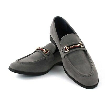 Gray Suede Buckle Slip On Moccasins  Men's Dress Fashion Shoes Casual  PUCCI 01