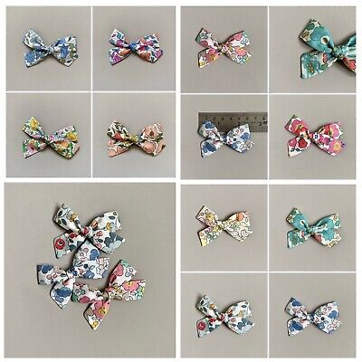 Liberty Tana Lawn design Cotton Fabric Hair Bow Half Enclosed Clip for Girls