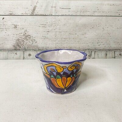 Small Scallop Mexican Planter Flower Pot Hand Painted