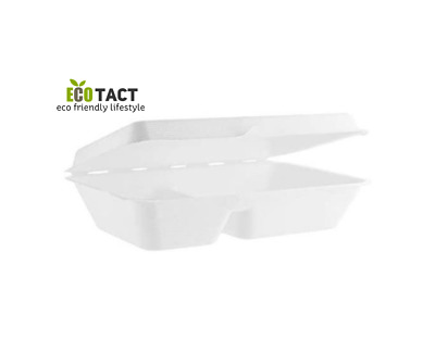 "Biodegradable and Compostable Bagasse Takeaway  9,5 X 6""  2 COMPARTMENT Food Box"