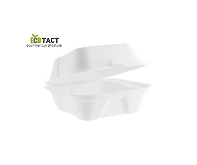 "Biodegradable and Compostable Bagasse Takeaway 6"" FIBRE BURGER BOX  –Pack of 50"