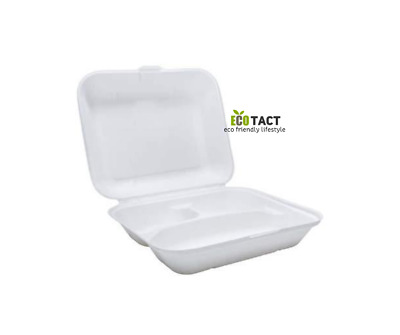 "Biodegradable Bagasse Takeaway 9"" 3 COMPARTMENT MEAL BOX (Pack of 50)"