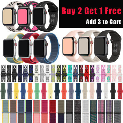 For Apple Watch Band Silicone Nylon Sport Replacement Loop 38mm 40mm 42mm 44mm