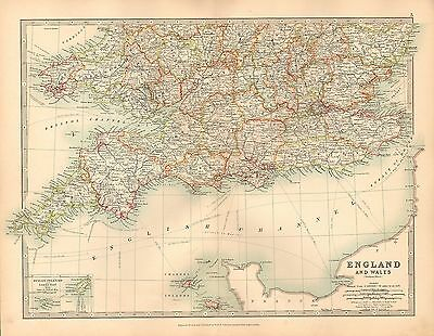 1911 Large Victorian Map ~ England & Wales Southern Sheet London Essex Cornwall
