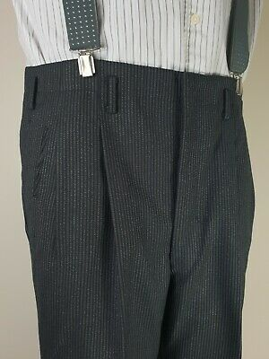 Vintage 40s/50s Button Fly Striped Hollywood Waist Wool Trousers W34 L26 MM40