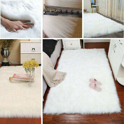 Extra Large White Shaggy Carpet Floor Rug Soft Thick Sparkle Mat Room Sofa Bed