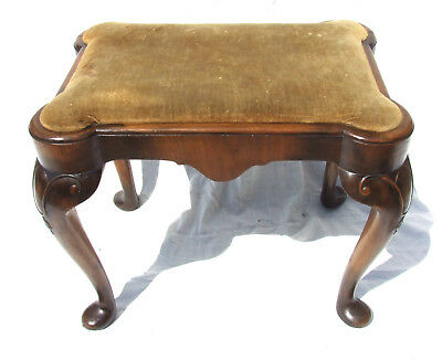 Antique Victorian Walnut Dressing Table Stool Footstool Upholstered