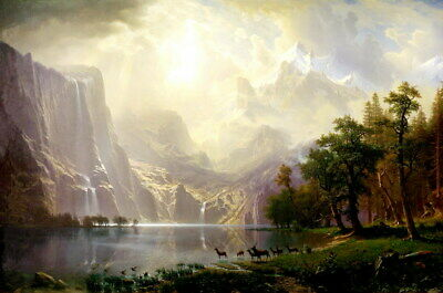 Albert Bierstadt Among the Sierra Nevada Mountains,Landscape Oil Painting Repro