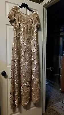 Alex Evenings Women's 14, Champagne Sequin & Ribbon Mother of the Bride Dress