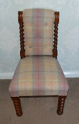Antique Victorian Small Mahogany Barley Twist Childs Chair - reupholstered