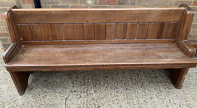 Four Small Church Pew Bench, Pitch Pine, Settle Antique Vintage Seating Chair