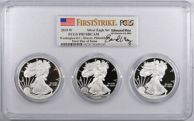 "2019-W American Silver Eagle Proof 3-Coin Set ""Moy Signed Label"" - PCGS PR70 -"