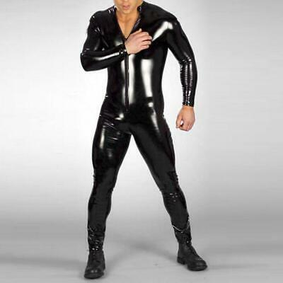 Sexy PVC Men Latex Bodysuit Catsuit Kinky Cosplay Herren Hose Jumpsuit S-4XL SH5