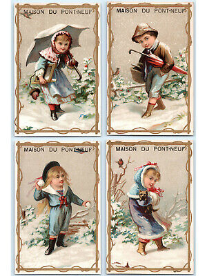 1870s Victorian French Lithograph Trade Card 20122035 Snow Scene