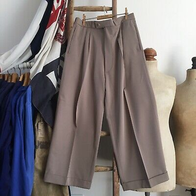 """Vintage 1930s/40s Style Taupe Wide Legged High Waisted Trousers W34"""" 35"""""""
