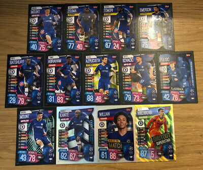 Match Attax Extra 2019/20 Full Set Of All 13 Chelsea Cards Inc Foils