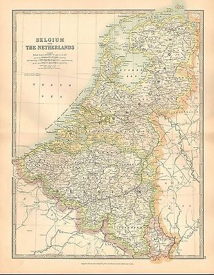 1911 Large Victorian Map ~ Belgium & The Netherlands Brabant Antwerp Flanders