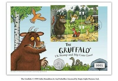 2019 The New Brand Gruffalo and Mouse UK STAMP & 50P Coin Cover BUNC IN HAND!!!