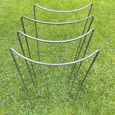 """5//16/"""" Solid Steel Bar 4 Tall Handmade Victorian Bow Style Metal Plant Supports"""