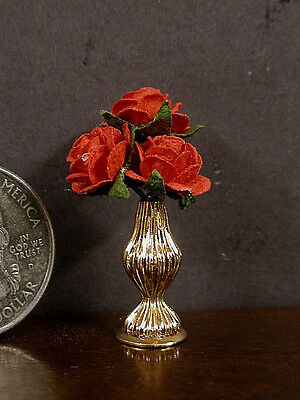 PATSY  MAC ~ Vase  Of  Red  Roses  ~ 1:12th scale ~ Dollhouse Mini ~ Room Box