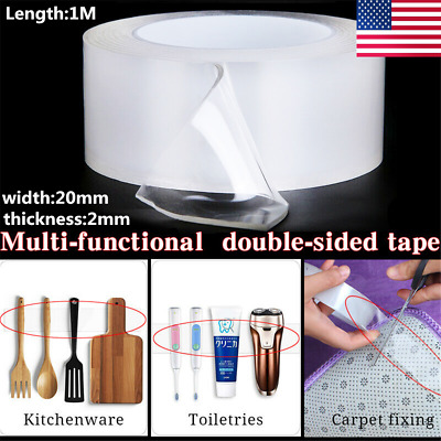 Magic Double-sided Grip Tape Traceless Washable Adhesive Gel Nano Invisible 1M