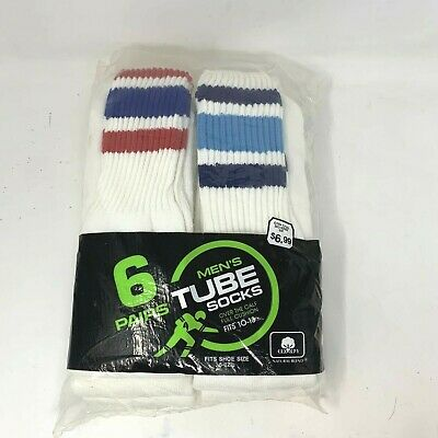 Woolworth Vintage 80's 6 Pairs Striped Tube Socks Dead Stock Rare Retro Sz 10-13
