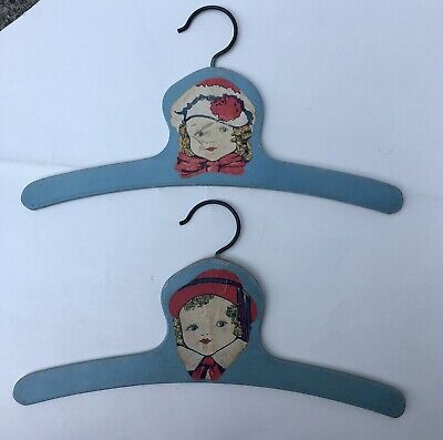 Pair Vintage Child's Shabby Chic-Style Blue Painted Wooden Hanger w/ Girl's Face