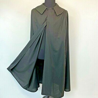 Black Cape Cloak Costume Adult S M Cosplay Lightweight Polycotton Handmade S1