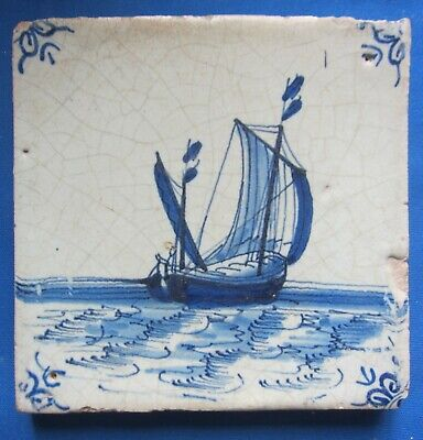 Antique Delft tile with ship - 17th century