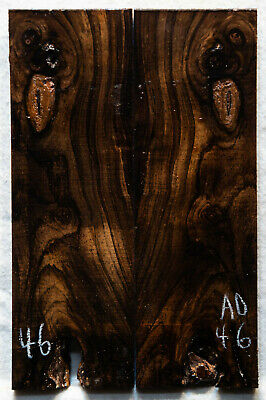 """African Blackwood #46 Knife Scales 6""""x 1.9""""x 5/16"""" note defects"""
