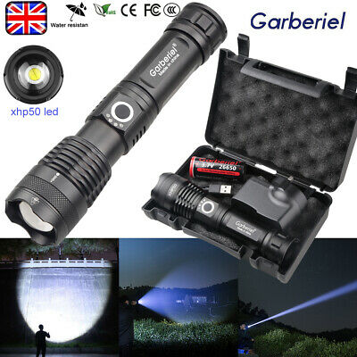 900000LM High Power XHP50 LED Zoom Flashlight 26650 Rechargeable Camping Torch