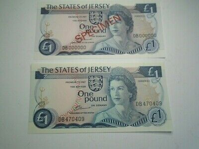 States of Jersey Old One Pound Bank Notes + Specimen Set -  UNC £ 1  DB 0