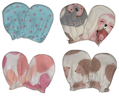 Newborn 4Pair Mittens Baby Girl Cottons No Scratch Cute And Soft Different Color