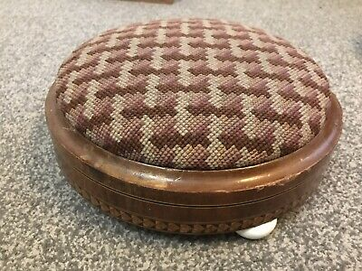 Antique Victorian Embroidered Foot Stool / Kneeler With Inlaid Wood Detail