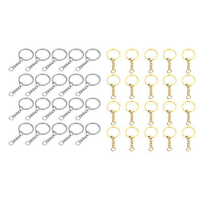 40pcs Split Ring Flat Surface Key Rings Double Loop Keychain Silver/Gold