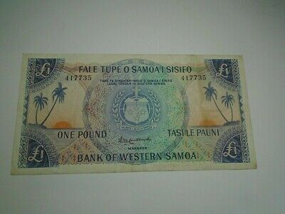 Bank of Western Samoa Old One Pound Bank Note  £ 1 Serial 417735  Scarce Money