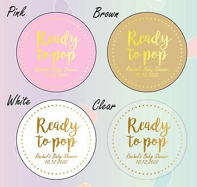 50 x 45mm GOLD round ready to pop baby shower personalised labels stickers pink