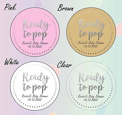 50 x 45mm SILVER round ready to pop baby shower personalised labels stickers