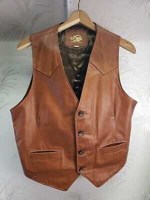 Lariat Leathers Men's Vintage Brown Vest Size 44 Western Made in USA EUC