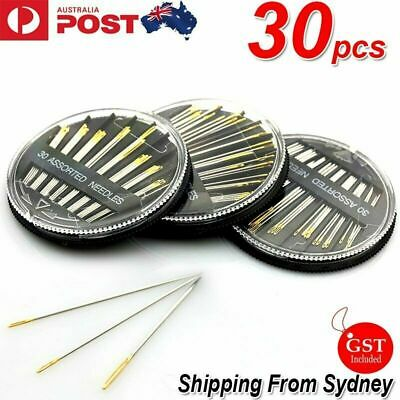 30PCS Assorted Hand Sewing Needles Embroidery Mending Craft Quilt Sew Case R1
