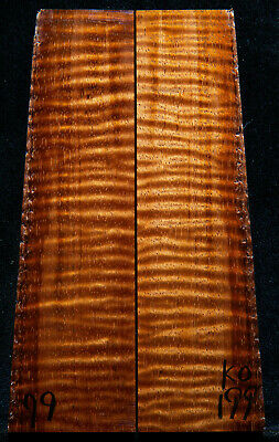 """Curly Koa #199 Knife Scales 5.7""""x 1.3-1.7""""x 3/8"""" see 100 species in my store"""