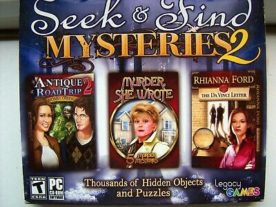 3 Game Pack----Seek & Find Mysteries 2---Hidden Object Games---Pc Cd