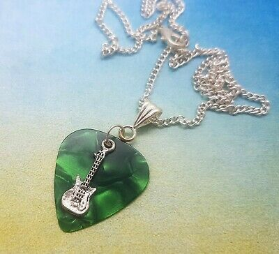 Silver Strat Style Electric Guitar Pendant On Thong Necklace Guitarist Gift Idea