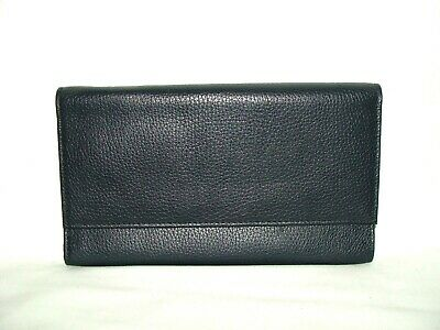 Abercrombie & Kent Navy Pebbled Leather Business Travel Passport Organizer Case