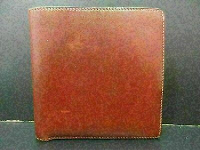 Authentic HERMES Bifold wallet Square B Leather Red Brown 85761