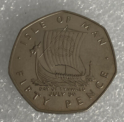 1979 Isle of Man Viking Ship 50p Fifty Pence Coin AA Die Mark UNC