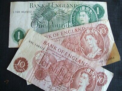 2 x Ten Shilling Notes & 1 One Pound Note-Hollom 1963-1966 used condition