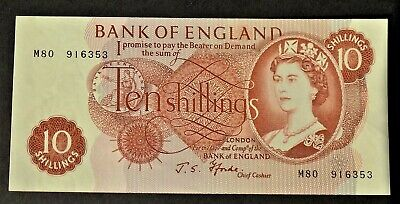 Bank of England10s shilling note FFORDE Replacement last run M80 916353 UNC B311