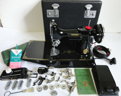 1936 Singer Featherweight 221 Sewing Machine With Original Case  Shiny & Clean