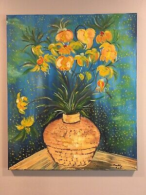 """VINCENT VAN GOGH """"Imperial Fritillaries in a Copper Vase"""" Oil Painting 20"""" x 24"""""""